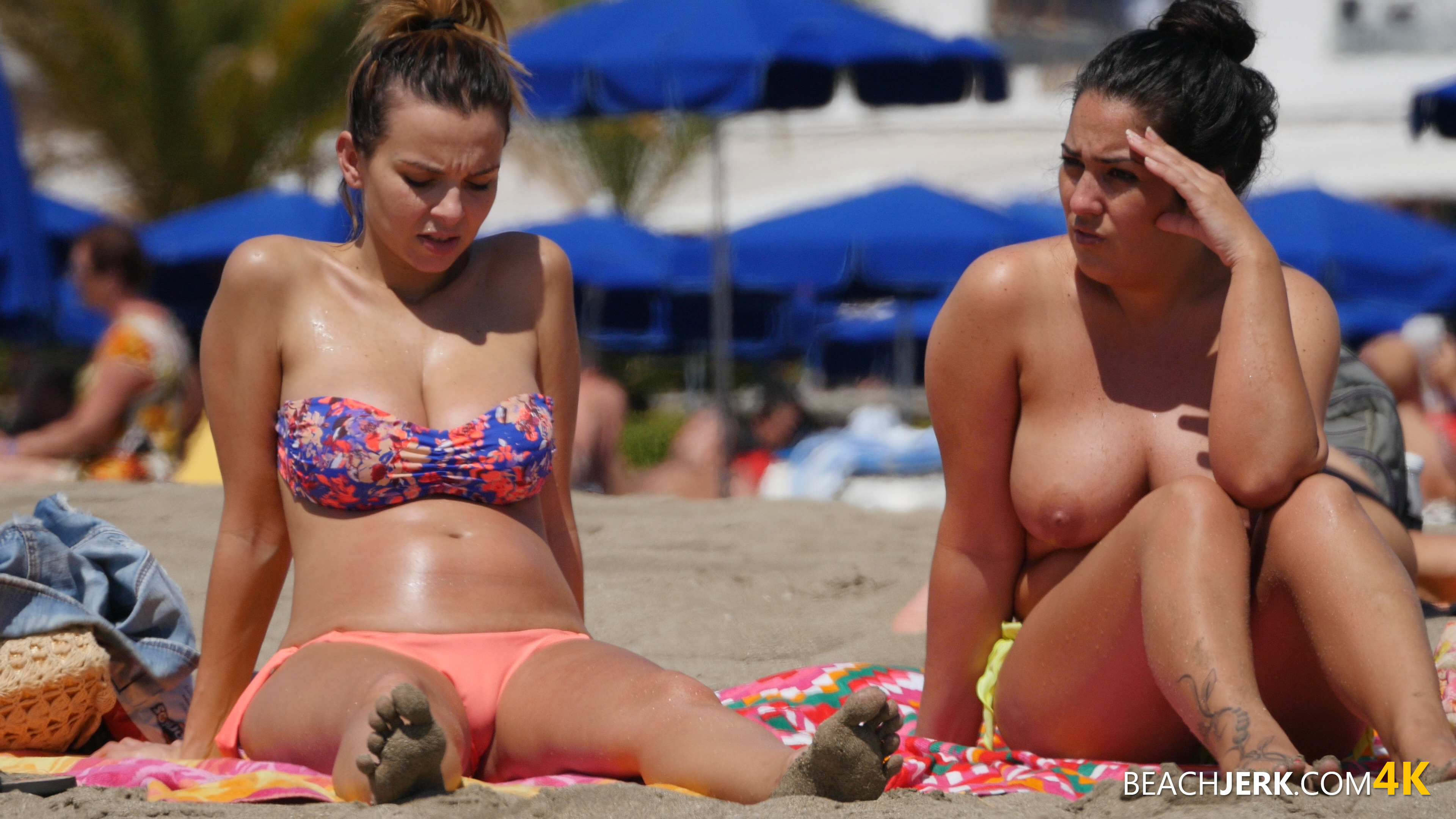 the biggest nipples you will ever see on the beach   beach jerk