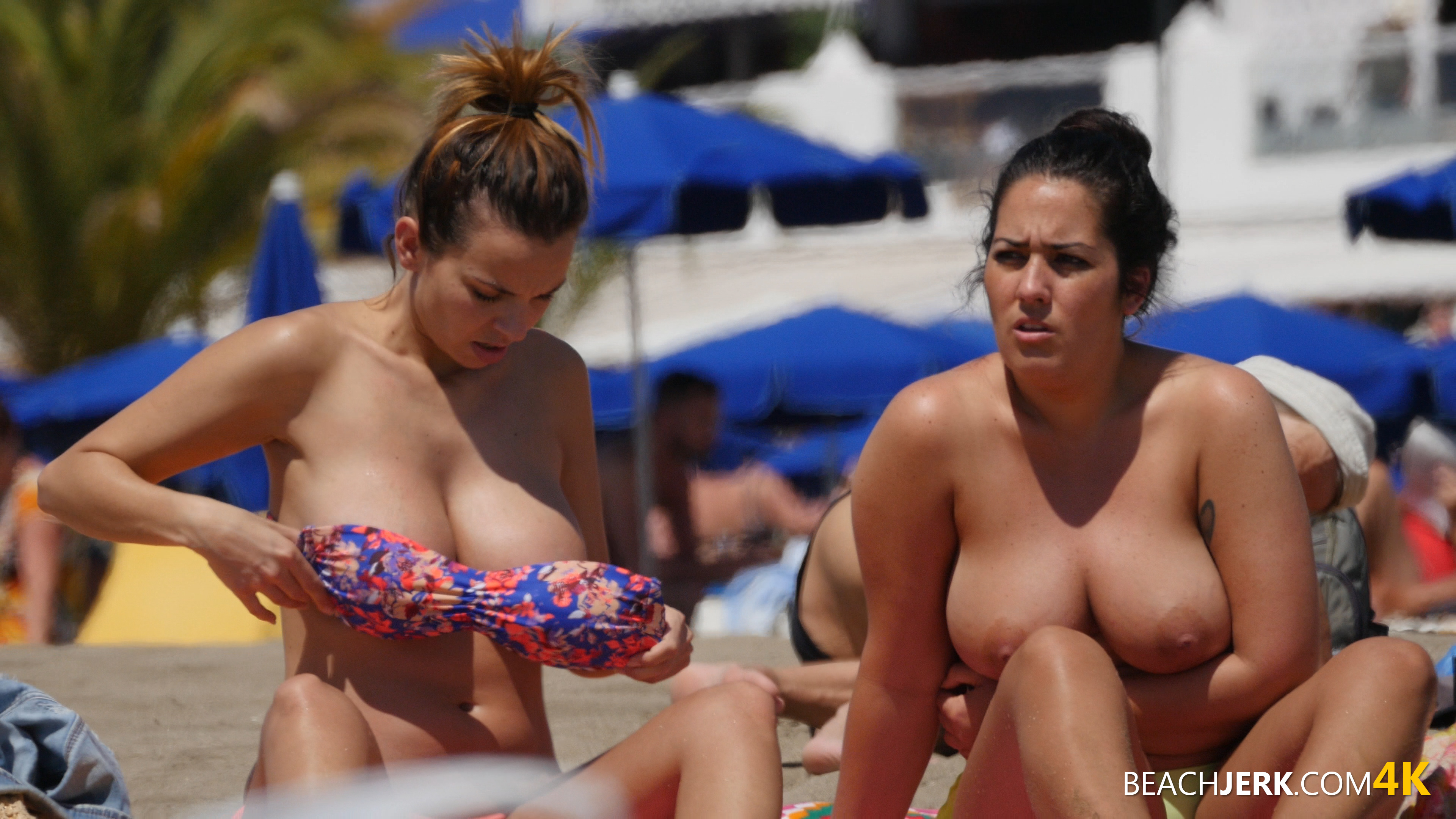 the biggest nipples you will ever see on the beach - beach jerk