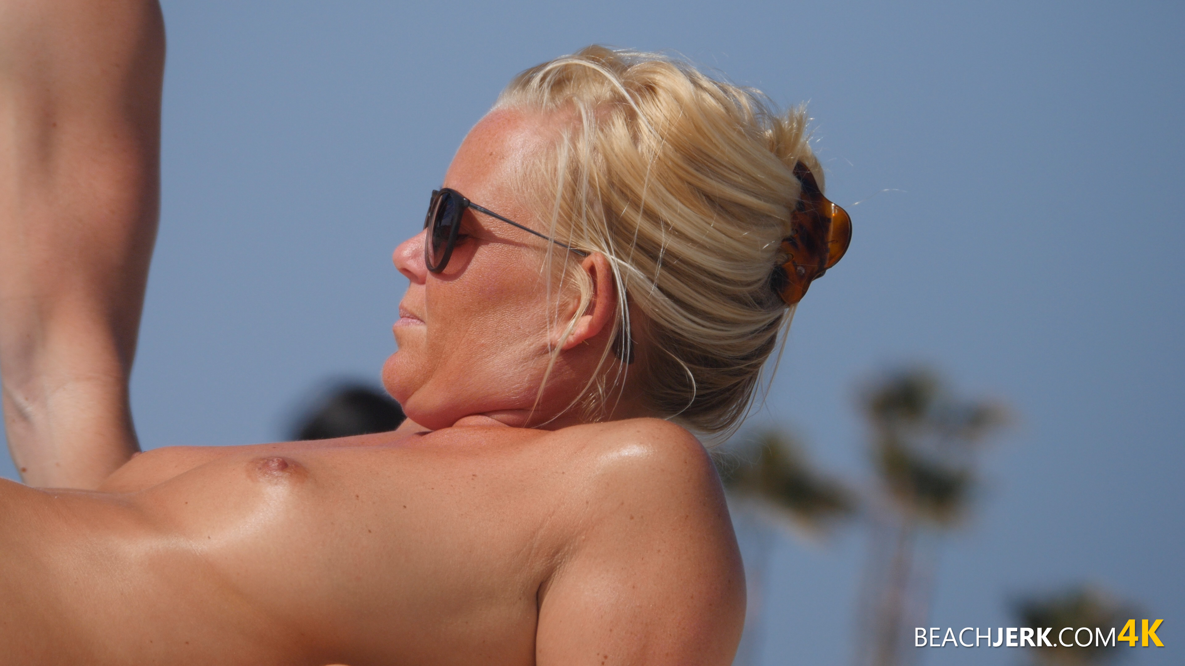 Mummy On The Beach With Her Tits Out - Beach Jerk-5462